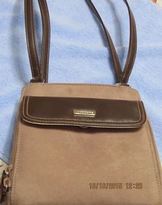 """Liz Claiborne Brown Tan Leather Suede Shoulder Purse Bag 7.5"""" X 7.5"""" X 3"""" #LizClaiborne #Purse"""