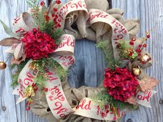 Christmas Wreath Joy to the World Holiday Wreath by TheRuffledPage