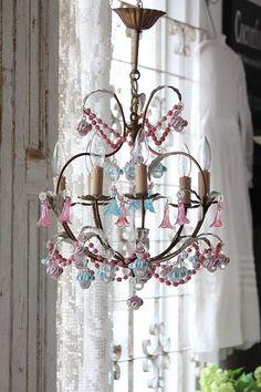 Antique chandelier 6 light Venetian Murano glass floral chandelier Oparin