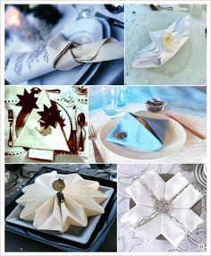 mariage hiver pliage serviette sapin flocon noeud