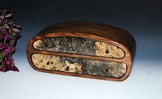 Handmade Jewelry Box or Mens Valet Box - Buckeye Burl on Walnut - Guy Gift - Wooden Jewelry Box by BurlWoodBox Large Jewelry Box Wood Box by BurlWoodBox