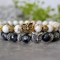 Owl gemstone mala bead bracelets. Now available in multiple size options! Check out all the new Spring and Summer designs!    Shop Now:   www.etsy.com/shop/AshleyNicoleByJulie