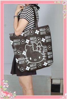 Lovely Kitty Shopping Reusable Tote Bag Handbag Brown | eBay