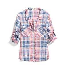 Blue and pink checked shirt has a nice girly look to it. Wish it was on a model to get the full effect.