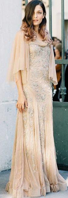 Love the fabric and color; blush gown / Alberta Ferretti