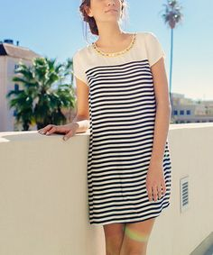 This Black & Yellow Stripe Shift Dress by Potter's Pot is perfect! #zulilyfinds