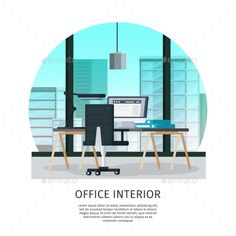 Office interior template with table chair laptop folders lamp and glass window vector illustration. Editable EPS and Render in JPG