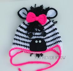 Zebra Crochet Hat Free Pattern More See other ideas and pictures from the category menu…. Faneks healthy and active life ideas Crochet Zebra, Crochet Animal Hats, Crochet Kids Hats, Crochet Beanie, Knit Or Crochet, Cute Crochet, Crochet Crafts, Crochet Projects, Knitted Hats