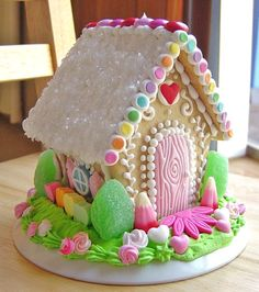 Spring gingerbread house, would be cute for Easter! needs some christmas color and makes a perfect Christmas cookie house. Christmas Gingerbread House, Christmas Cookies, Gingerbread Houses, Christmas Desserts, Holiday Treats, Christmas Traditions, Gingerbread Cookies, Valentine's Day Sugar Cookies, Cookie House