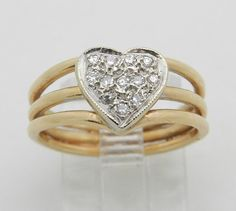 Diamond Cluster Heart Ring Promise Ring 14K Yellow by GalaxyGems
