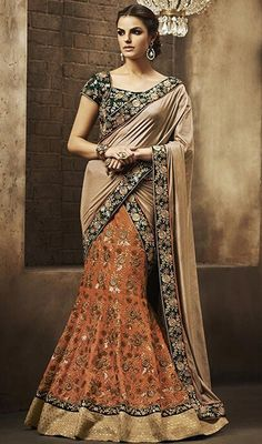 Showcase your voguish look dolled up in this beige and orange color silk embroidered lehenga sari. This attire is well created with lace, resham and patch work. Upon request we can make round front/back neck and short 6 inches sleeves regular saree blouse also. #floralembroideredlehengasarees #latestcollectionoflehangasaree #PartyWearCollection