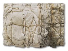 """Christo,Package,1961  511/4 x 707/8 x 13"""" (130 x 180 x 33cm)  Fabric and ropes on board  Kröller-Müller Museum, Ottlerlo, The Netherlands  Photo: Kröller-Müller Museum © 1961 Christo"""