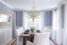 Contemporary room with blue and white wallpaper~ Cerulean Interiors carries this entire look (wallpaper, chandelier, dining chairs, dining table, window treatments, etc)!
