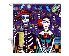 Day of the Dead Shower Curtains - Mexican Folk Art Frida Kahlo by Heather Galler Shower Curtain for Adult Bathroom (HG62335)