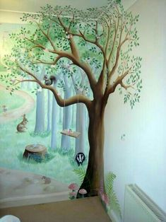 woodland nursery mural Fairy fun and frolics # Church Nursery, Nursery Room, Nursery Tree Mural, Playroom Mural, Babies Nursery, Woodland Bedroom, Enchanted Forest Nursery, Fairytale Bedroom, Girls Fairy Bedroom