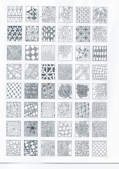 #ZENTANGLE DESIGNS start practicing each design/tangle on a square and then applied them in your stamped image …