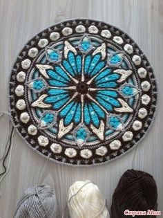"""Mart"" geteilter Strickteppich Teil 2 S Col Crochet, Crochet Mandala Pattern, Crochet Square Patterns, Crochet Blocks, Crochet Art, Crochet Squares, Crochet Home, Crochet Designs, Crochet Crafts"