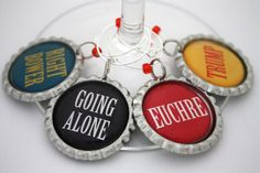 Euchre game wine charms card party favors by ConvertibleGirlShop, $12.00