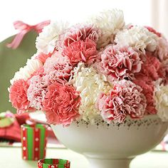 Pink and White Carnations. Carnations have been defamed as being cheap, but I love this