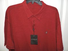 John Varvatos Designer Red Embroidered Peace Sign Polo Shirt SZ 2XL NWT Must See #JohnVarvatos #PoloRugby