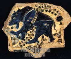 Buy or license direct from the photographer this stunning image of : Seljuk Tile Bear Figure A . 1236 Kubadabad Palace , Konya Karatay Madrasah M . Tile Art, Mosaic Art, Mosaics, Pottery Patterns, Rivage, Turkish Art, Turkish Tiles, Islamic Patterns, Antique Tiles