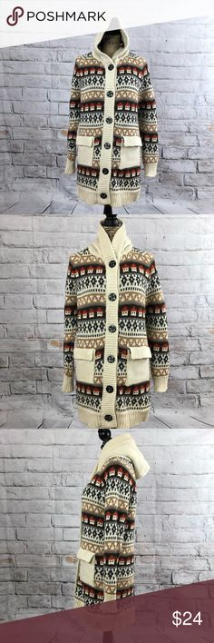 """Vintage thick knit hooded warm Pac-man coatigan Vintage thick knit hooded warm Pac-man coatigan  No inside tags-acrylic  Great large buttons  Super warm sweater coat  Small pockets in front  Fair Isle pattern with a Pac-man style design  Super cute super cozy  Preloved in good condition  Has a hole under the arm inside-not visible outside see next to last pic  Has button transfer to the button holes see last pic  Priced accordingly   Pit measurement approximately 19""""  Length approximately…"""