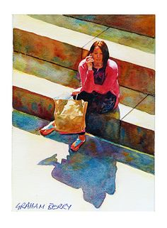 "On the steps by Graham Berry Watercolor ~ 11"" x 8"""