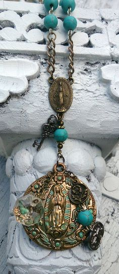 Turquoise Rosary Cross Religious Necklace by Secret Stash Boutique Purchase at: https://www.etsy.com/listing/178607264/turquoise-rosary-cross-religious?ref=shop_home_active_2
