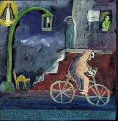 """Este exvoto de Miguel Hernandez dice:  """"La Muerte se paseaba en bicicleta por nuestra calle y todos estábamos atemorizados pensando por quien vendría y rezamos a la Virgen de Zapopan para que no se llevara a nadie y Nustra Sra. nos escuchó porque la Muerte ya no se ha visto por aquí y nadie se murió en el vecindario y dedicamos este retablito."""""""