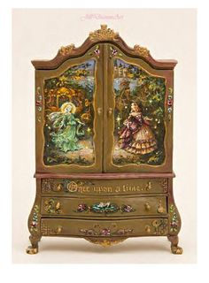 Cinderella, Sweet Dreams or Finding Fairies Baby Dollhouse Cupboard - Roses, Fairy, Rabbit, Toys, Butterfly, Castle - Dollhouse Miniatures by JillDianneArt on Etsy https://www.etsy.com/listing/96133007/cinderella-sweet-dreams-or-finding