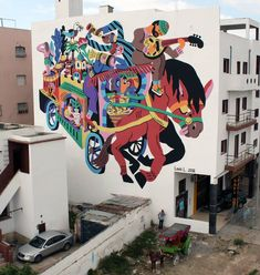 This is the wall I just did for the 'Street Art Caravan' festival in Safi (Morocco). The whole trip was amazing! A huge thanks to the organisation and all the people that helped: it was perfect!  #ilovemorocco #asfi #safi #mural #horse #caravan #besttrip #surf by 3ttman