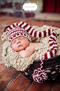 Elf Stocking Baby Hat Stripe Pompon Crochet Beanie Pattern Photography 2014 Christmas - Bamboo Basket, Christmas Crafts