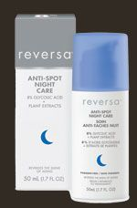 Reversa Anti-Spot Night Care is a night cream that helps reduce the appearance of brown spots and other signs of skin aging while you sleep. Its advanced formula combines rare plant extracts such as Rumex, Sophora angustifolia and kiwi fruit that work together to reduce the production of melanin (the brown pigment which gives spots their colour), and glycolic acid to exfoliate and moisturize