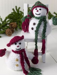 Free Pattern: Mr. and Mrs. Snowman #crochet