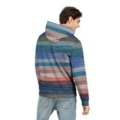 Men's Hoodie With Colorfull Abstract Stripes Custom Design, Men's Fashion, Men Sweater, Stripes, Hoodies, Abstract, Fabric, Prints, Collection
