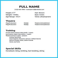 Actor resume sample presents how you will make your professional or beginner actor resume. The acting resume format can be in simple order as you will… actor resume no experience Acting Resume Template, Modern Resume Template, Resume Format, Cv Template, Resume Templates, Resume Layout, Best Resume, Resume Tips, Resume Ideas