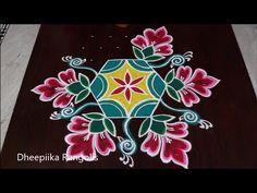 Beautiful flower rangoli design with 9 dots l new year sankranthi special rangolis 2019 Rangoli Borders, Rangoli Border Designs, Rangoli Designs With Dots, Rangoli Designs Images, Rangoli With Dots, Simple Rangoli, Best Rangoli Design, Beautiful Rangoli Designs, Rangoli Ideas