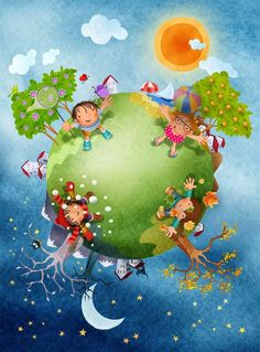 day and night Illustration Noel, Illustrations, Scrapbooking Image, School Murals, Ideas Para Organizar, Preschool Education, School Decorations, Earth Day, School Projects