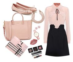 """""""going to the office?"""" by cherralynray on Polyvore featuring Salvatore Ferragamo, Miu Miu, Burberry, Topshop, Lime Crime, Bobbi Brown Cosmetics and Chanel"""