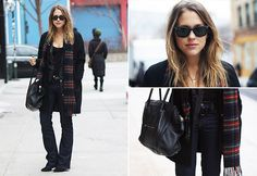 Switch up a dark ensemble with a tartan scarf and shades, just like blogger Sabrina M featuring Diesel Bootzee Jeans, Amsterdam #SuccessfullyStyled www.diesel.com/female