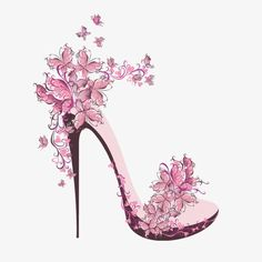 Pink High Heels, Pink, Continental, High Heeled Shoes PNG Transparent Clipart Image and PSD File for Butterfly Shoes, Pink Butterfly, Butterflies, Fashion Art, Fashion Shoes, Mode Poster, Pink High Heels, Shoe Art, Fashion Sketches