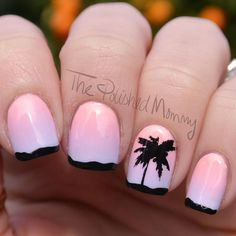 64 Ideas Nails Design Spring Break Palm Trees For 2019 Break nails 2019 Break nails pink Break nails beach Gorgeous Nails, Love Nails, How To Do Nails, Pretty Nails, Jamaica Nails, Hawaii Nails, French Nails, Spring Break, Sunset Nails