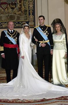 Princess Letizia and family on wedding day...Crown Prince Philipe, King Juan Carlos, and Queen Sophia