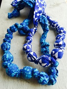 Teething necklaces wooden beads and fabric blue