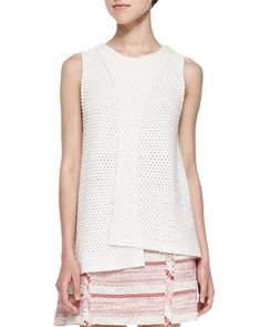Sleeveless Crossover Crochet Top, Ivory - Thakoon Addition