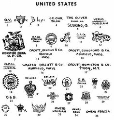 Pottery & Porcelain Marks - United States - O.P.Co. Syracuse USA is #8 on page 27.  Syracuse China marks are #7-12