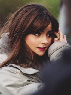 Jenna Coleman on set in Bute Park, Cardiff (18 March 2014)