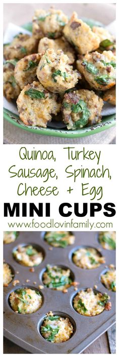 Quinoa, turkey sausage, spinach, egg and cheese mini cups are great protein packed breakfast bites. Make them once and eat them all week.