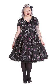 Fashion Bug Plus Size Gothic Beauty and Glam Black Swing Party Dress www.fashionbug.us #plussize #fashionbug #dress #vintage #rockabilly #gothic 1X 2X 3X 4X 5X