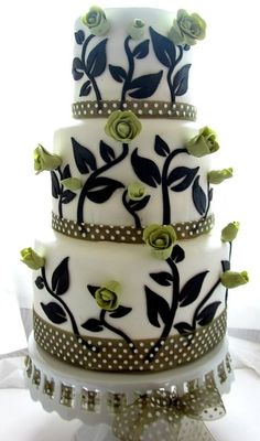 Green and black cake